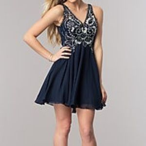 Dresses & Skirts - Navy Blue Short V-Neck  Dress with Cut Outs